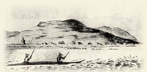 Уналашка (1817 г.) На переднем плане алеуты в лодке. Акварель Лисянского.
